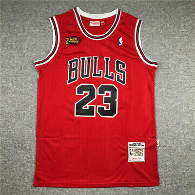 AU52.99 • Buy 1998 Finals Michael Jordan Stitch RED Jersey Embroidery