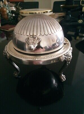 Silver Plated Butter/Caviar Serving Dish With Revolving Dome And Glass Insert  • 25£
