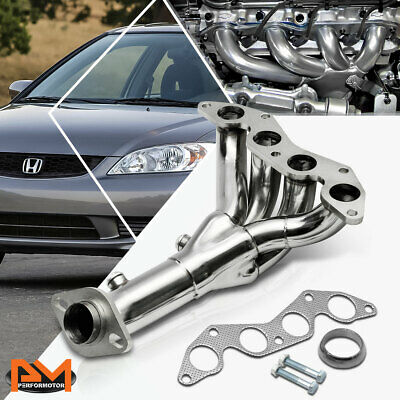 $57.89 • Buy For 01-05 Honda Civic DX/LX D17A1 1.7L Stainless Steel Exhaust Header Manifold