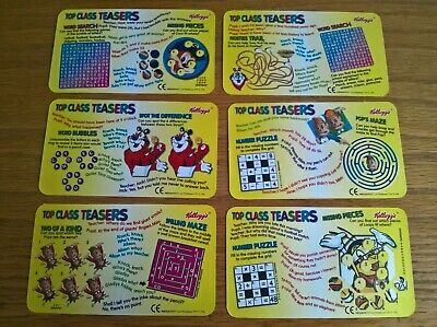 Kelloggs Cereal Trade Cards Top Class Teasers Puzzles/stickers Complete Full Set • 2.99£