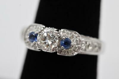 $625 • Buy Stunning 14k Solid White Gold Natural .50ct Diamond & 2 Sapphire 7.25 Pave Ring