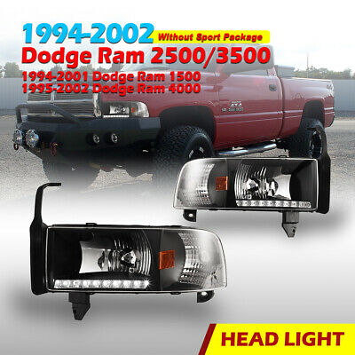 $80.99 • Buy For 94-02 Dodge Ram 1500 2500 3500 Headlights LED DRL Front Lamp Black/Clear L+R