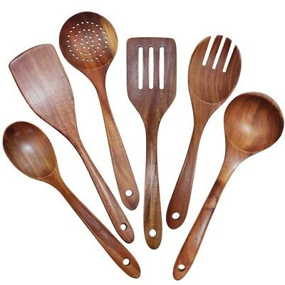 AU27.94 • Buy Wooden Utensils Set Of 6,Large Kitchen Cooking Utensil For Non Stick Cookw T8H6