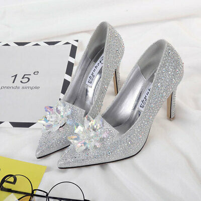 Silver Cinderella Wedding Party Diamond Pumps Crystal High Heels Shoes UK2.5-7   • 15.99£
