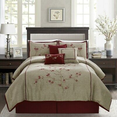 $65.99 • Buy Miki 7-Piece Floral Burgundy Red Taupe Cherry Blossom Embroidery Comforter Set