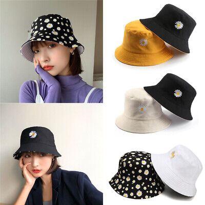 Double-Sided Bucket Hat Daisies Fisherman Cap Foldable Sun Hat Sunscreen Outdoor • 5.79£