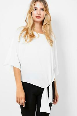 £5 • Buy Off White Batwing 3/4 Sleeves Tie Front Oversized Top Blouse Size M - XL