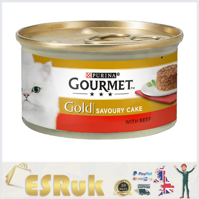 Gourmet Gold Wet Cat Food Savoury Cake Beef Can Adult, 85 G - Pack Of 12 • 9.99£