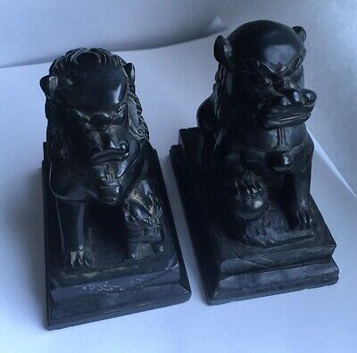 Antique Chinese Foo Dogs Lions Carved Black Stone Figurines • 64.99£