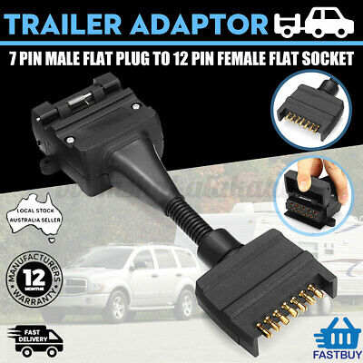 AU29.95 • Buy Trailer Adaptor Plug - 7 Pin Male Plug To 12 Pin Female Flat *Australian Stock*