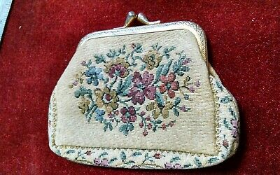 $9.99 • Buy Vintage Tapestry Coin Change Purse Kiss Clasp