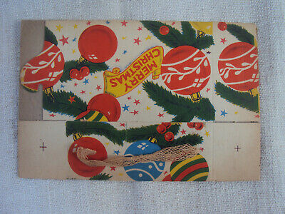 $ CDN20.42 • Buy Vintage Merry Christmas Candy Box Cardboard With String Handle Unused NOS A