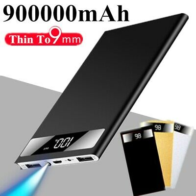 900000mAh Slim Power Bank Portable Battery Charger IPhone Samsung Tablet Phone • 15.99£