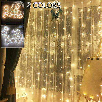 200/300 LED Curtain Fairy Lights Indoor/Outdoor Wedding Party Xmas Room Decor UK • 11.99£