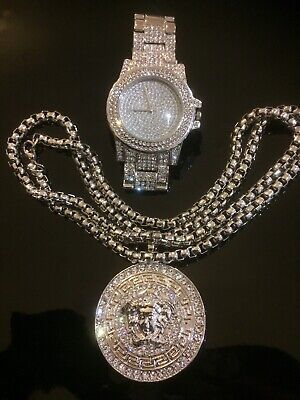 Hip Hop Iced Out Simulated Diamond WATCH & White Gold Necklace Set 9  Inch • 19.99£