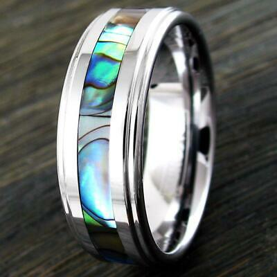Tungsten Wedding Band Ring Step Edge Silver With Abalone Inlay For Men Adn Women • 7.99£