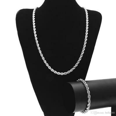 6mm Twisted Rope Link Chain Necklace Bracelet Set Silver Gold Men's 24  30  Inch • 13.99£