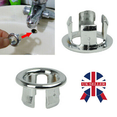 £0.99 • Buy 2pcs Bathroom Basin Sink Overflow Ring Chrome Hole Cover Cap Inserts Round