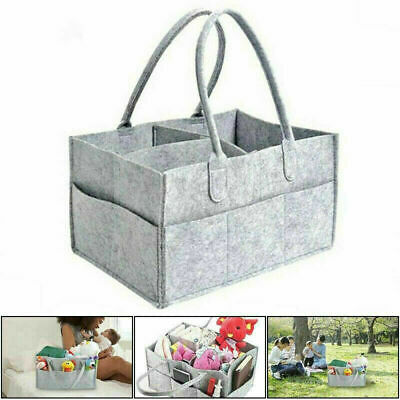 View Details Baby Diaper Organizer Caddy Felt Changing Nappy Kids Storage Carrier Bag Grey UK • 8.49£