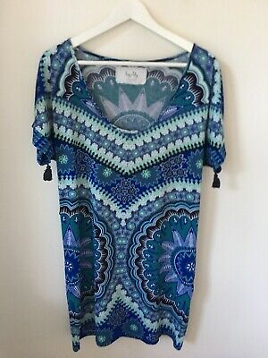 AU10 • Buy Tigerlily Archives Blue Printed Dress Small