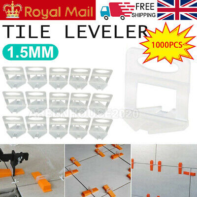 1000 Kit Tile Leveling Spacer System Tool Clip Wedges Wall Flooring Level Lippag • 15.99£