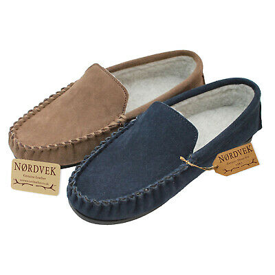 Nordvek Mens Genuine Suede Moccasin Slippers Berber Fleece Lined Hard Sole • 14.90£