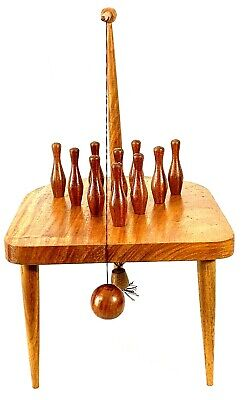 $29.95 • Buy Table Top Bowling Game Wooden Swinging Ball Vintage Mid Century