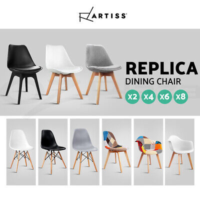 AU179.95 • Buy Artiss Dining Chairs Chair Replica Leather Fabric Cafe Set Of 2/4/6/8