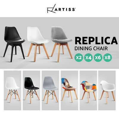 AU135.90 • Buy Artiss Eames Dining Chairs Chair Replica PU Leather Fabric Cafe Set Of 2/4/6/8