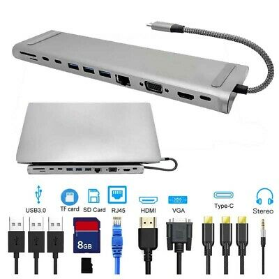 12 In1 TYPE-C To USB 3.0 30Hz 4K HD Hub Docking Station For MateBook DELL ASUS • 39.99£