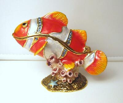 $4.25 • Buy Jere Bejeweled Enamel Pewter Gold Fish Trinket Collectible Box