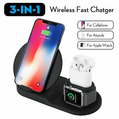 AU30.49 • Buy 3 In1 Qi Wireless Charger Fast Dock Stand Station For Samsung Apple Watch IPhone