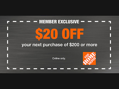 $2.09 • Buy Home Depot $20 OFF $200 Coupon ONLINE USE ONLY -Fast-Delivery--