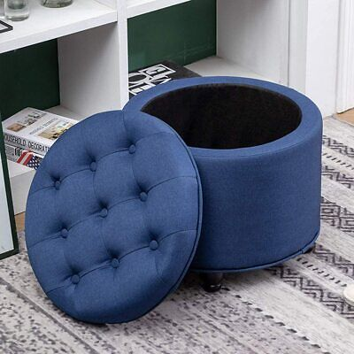 $85.49 • Buy Round Storage Ottoman Footstool Footrest Upholstered Button Tufted Removable Lid