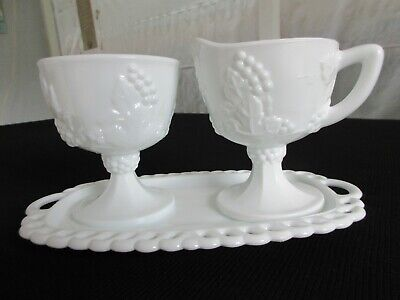 $26 • Buy Indiana Harvest Milk Glass Creamer Sugar Bowl Tray - Colony Grapes And Leaves