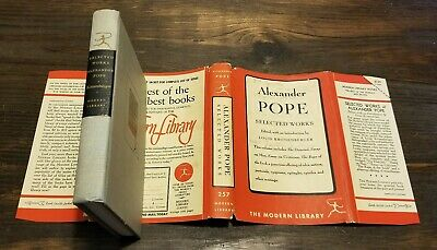 $15 • Buy (1948)  ALEXANDER POPE SELECTED WORKS  FIRST 1ST Modern Library $1.25 HBDJ RARE