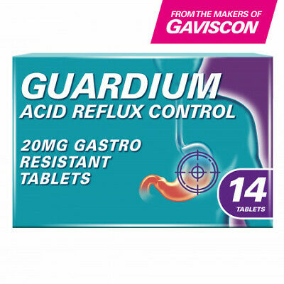 GUARDIUM Tablets Heartburn And Acid Reflux Control By Gaviscon, Pack Of 14 • 11.75£