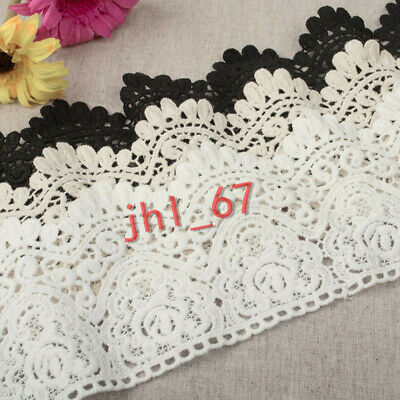 F34 Vintage Crochet Embroidered Cotton Lace Trim Dress Curtain Sewing DIY 1Yard • 3.19£