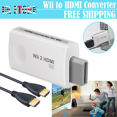 Wii To HDMI Converter Adapter 1080p HD Audio Output Cable Jack Audio 3.5mm UK • 9.75£