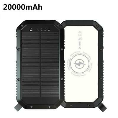 AU89.01 • Buy Portable Solar Camping Waterproof Power Bank Light 20000 MAh Qi Wireless Charger