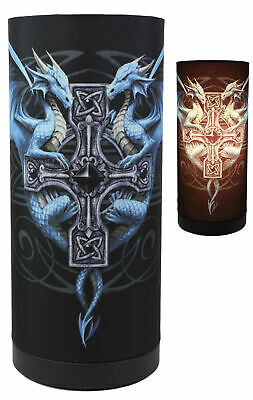 £18 • Buy Anne Stokes Gothic Blue Dragon Duo With Celtic Cross Table Column Shade Lamp 11