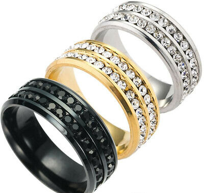 Men Women Double Row Crystal Wedding Ring Stainless Steel Eternity Band Infinity • 4.99£
