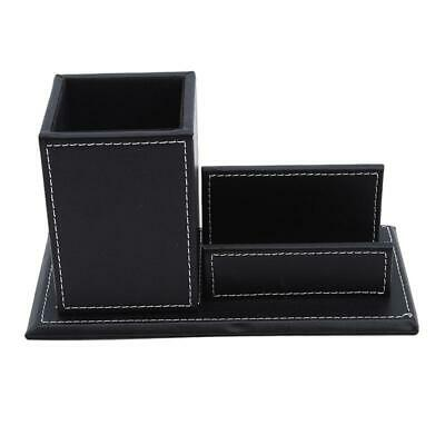Leather Office Desk Stationery Stand Organizer Box Pen Business Card Holder YI • 9.37£