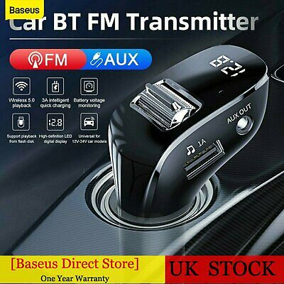 Baseus Bluetooth 5.0 Wireless Car FM Transmitter LCD MP3 Player USB Charger AUX • 13.99£