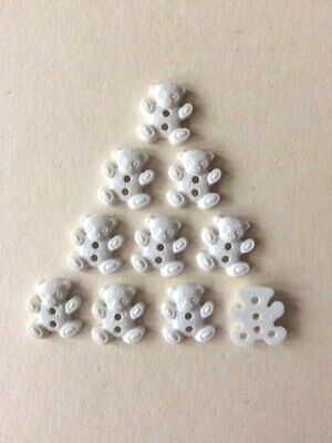 16mm WHITE PLASTIC 2-HOLE TEDDY BEAR BUTTONS - Baby And Children Knits, Sewing • 3.55£
