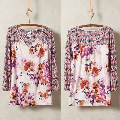 $ CDN44.89 • Buy Anthropologie Akemi + Kin Ayana Peasant Top Floral Print Shirt Blouse Sz Medium