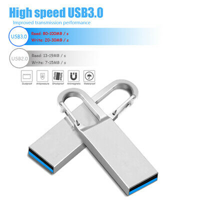 64GB 32GB USB 3.0 2.0 Metal Keyring Flash Drives Media Data Storage Stick U Disk • 2.99£