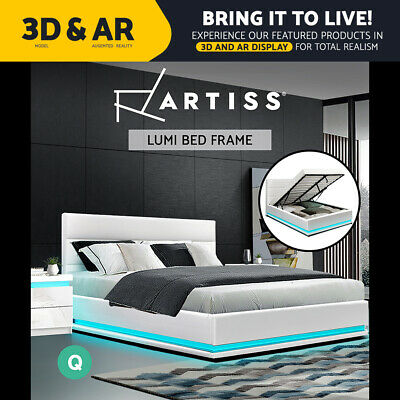 AU399.95 • Buy Artiss RGB LED Bed Frame Queen Size Gas Lift Base Storage White Leather LUMI