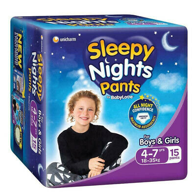 AU16.06 • Buy Babylove Sleepy Nights Pants 4-7 Years Unisex Undies Absorb Kids Nappies 15 Pack