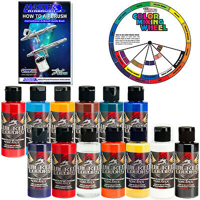 £65.18 • Buy 12 Createx Wicked Colors 2oz Airbrush Paint Set With Reducer & Color Wheel